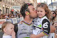 Mark Cavendish of Great Britain and Team Dimension Data with his children following the Tour of Britain 2016 stage 8 , London, United Kingdom on 11 September 2016. Photo by Mark Davies.