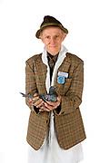 Arthur Goacher, pigeon racer with pigeon