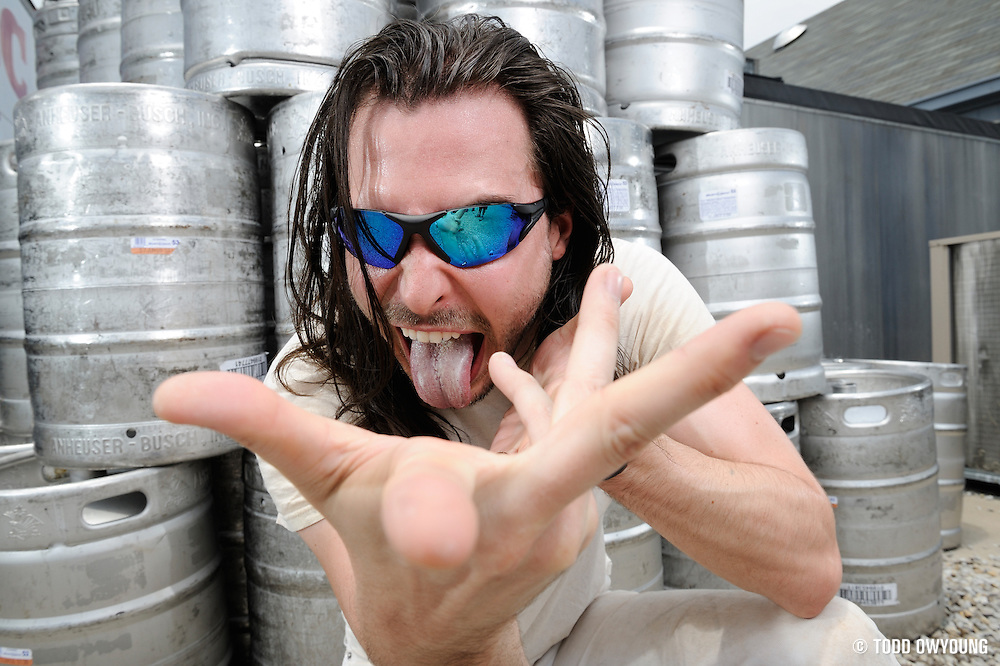 Andrew W.K. photographed backstage on Warped Tour, July 5, 2010