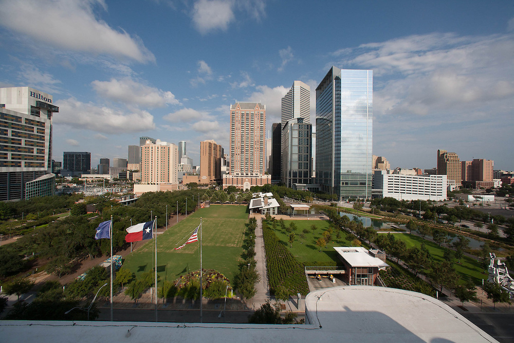 Discovery Green park and the Houston, Texas skyline viewed from the George R. Brown Convention Center.