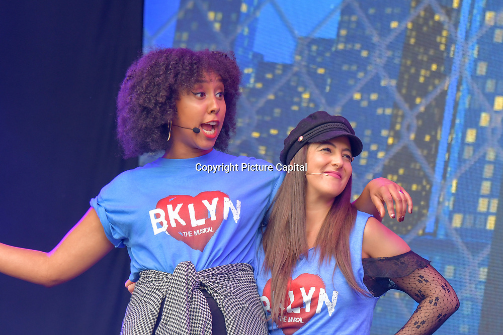 Brooklyn the Musical performs at West End Live 2019 - Day 2 in Trafalgar Square, on 23 June 2019, London, UK.