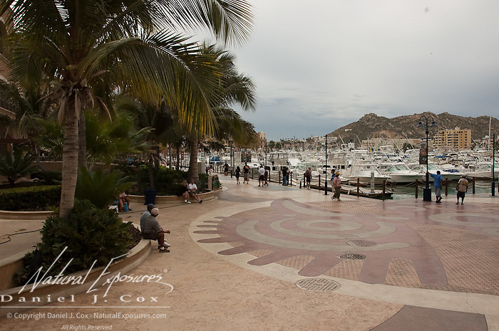 Boats sit in the water at the downtown marina in Cabo San Lucas, Mexico.