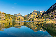 Reflections on a lake in autumn near Crystal, Colorado.
