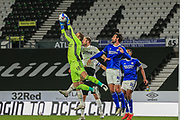 Cardiff City goalkeeper Alex Smithies (12) collects the ball during the EFL Sky Bet Championship match between Derby County and Cardiff City at the Pride Park, Derby, England on 28 October 2020.