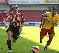 Photo: Mark Stephenson.<br /> Sheffield United v Watford. The Barclays Premiership. 28/04/2007.Sheffield's Derek Geary on the ball
