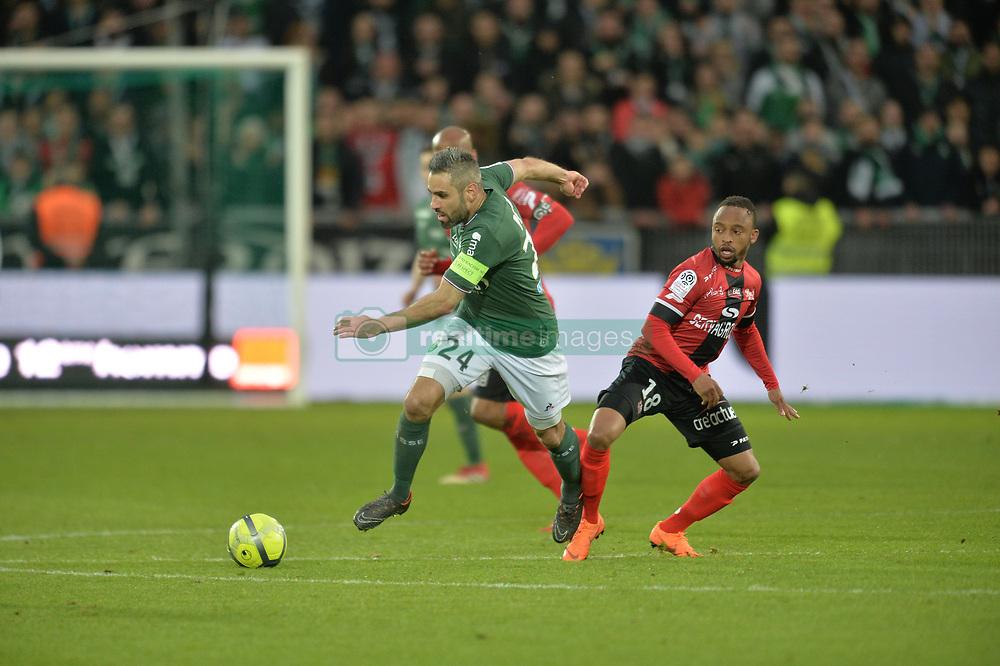 March 18, 2018 - Saint Etienne - Stade Geoffroy, France - Mathieu Debuchy (saint etienne) vs Lebogang Phiri  (Credit Image: © Panoramic via ZUMA Press)