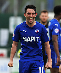 Chesterfield's Gary Roberts celebrates victory - Photo mandatory by-line: Harry Trump/JMP - Mobile: 07966 386802 - 03/04/15 - SPORT - FOOTBALL - Sky Bet League One - Yeovil Town v Chesterfield - Huish Park, Yeovil, England.