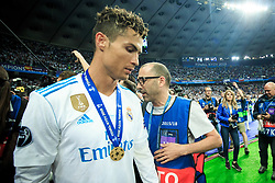 Cristiano Ronalo of Real Madrid celebrates after they won 3-1 during the UEFA Champions League final football match between Liverpool and Real Madrid and became Champions League  2018 Champions third time in a row at the Olympic Stadium in Kiev, Ukraine on May 26, 2018.Photo by Sandi Fiser / Sportida
