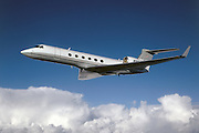 Gulfstream G-V business jet in the air.