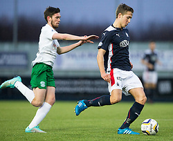 Hibernian's Sam Stanton and Falkirk's Will Vaulks.<br /> haft time ; Falkirk 0 v 0 Hibernian, Scottish Championship game played 6/12/2014 at The Falkirk Stadium .