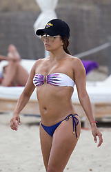 Eva Longoria seen playing beach volleyball whilst on holiday in Ibiza. Longoria was seen showing off her enviable body in a white and blue bikini. 21 Jul 2017 Pictured: Eva Longoria. Photo credit: IMP Features / MEGA TheMegaAgency.com +1 888 505 6342