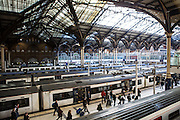 Passengers rush along the platform after their train arrived in Liverpool Street station, London, United Kingdom. Liverpool Street station was opened in 1874 and is now the third busiest railway station in London.