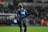 Yoan Gouffran of Newcastle can't hide his frustration in the first half against Swansea City.<br /> Barclays Premier League match, Swansea city v Newcastle Utd at the Liberty stadium in Swansea, South Wales on Wednesday 4th Dec 2013. pic by Phil Rees, Andrew Orchard sports photography,