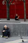 "A homeless person with mental concerns is seen stranded nearby London Bridge station on Wednesday, April 8, 2020. The barometer of the success of any nation is the health and wellbeing of its people. Mental health services are free on the NHS. Approximately 1 in 4 people in the UK will experience a mental health problem each year. In England, 1 in 6 people report experiencing a common mental health problem (such as anxiety and depression) in any given week says the NHS Information Centre for health and social care. With the UK Conservative government consistently defunding public health institutions a damning report found 'serious failings' in NHS mental health services. Vulnerable mental health patients are suffering serious harm, and in some cases dying, because of ""serious failings"" in their treatment, the NHS ombudsman has warned. (Photo/Vudi Xhymshiti)"