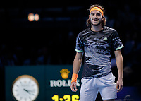 Tennis - 2019 Nitto ATP Finals at The O2 - Day Seven<br /> <br /> Semi Finals: Stefanos Tsitsipas (Greece) Vs. Roger Federer (Switzerland) <br /> <br /> Stefanos Tsitsipas (Greece) stands smiling after he makes it to the final <br /> <br /> COLORSPORT/DANIEL BEARHAM<br /> <br /> COLORSPORT/DANIEL BEARHAM