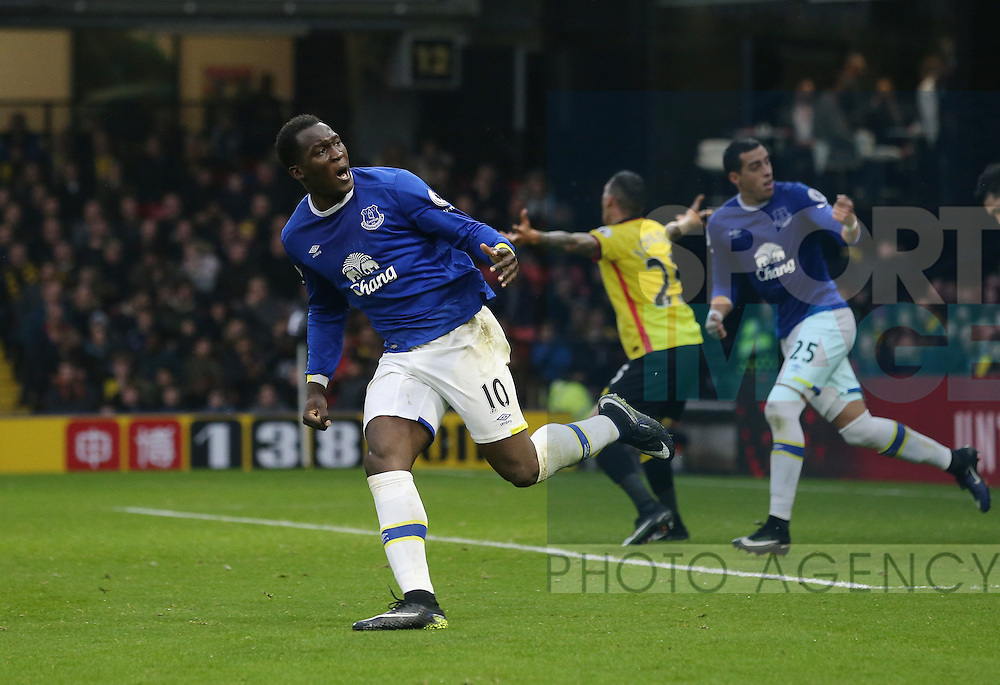 Everton's Romelu Lukaku celebrates his second goal during the Premier League match at Vicarage Road Stadium, London. Picture date December 10th, 2016 Pic David Klein/Sportimage