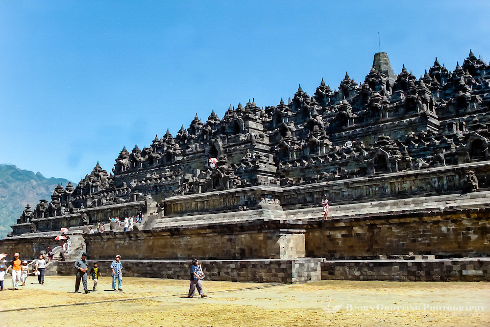Java, Central Java, Borobodur. Borobudur has six square platforms topped by three circular platforms. A main dome is located at the top center.