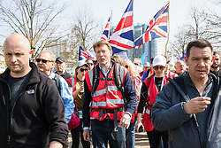 London, UK. 29th March, 2019. Richard Tice, founder of Leave Means Leave and former co-chair of Leave.EU, joins other pro-Brexit activists from Leave Means Leave marching from Fulham to a rally in Parliament Square in Westminster on the final leg of the March to Leave on the day on which the UK was originally to have left the European Union. The March to Leave was organised by Leave Means Leave, with assistance from Nigel Farage, as a peaceful protest 'to demonstrate the depth and breadth of popular discontent with the way Brexit has been handled' by the Government.