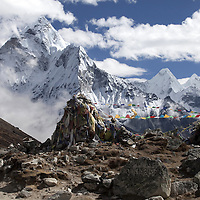October 2009 WWF Everest - en route from Dengboche to Tuckla Pass aview from top of Tuckla Pass - memorials to climbers killed