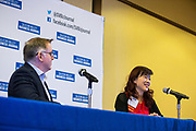 Lily Mei, City of Fremont Mayor, talks with Josh Moss, Silicon Valley Business Journal Editor-in-Chief, during the Silicon Valley Business Journal's Future of Fremont event at Fremont Marriott Silicon Valley in Fremont, California, on June 18, 2019.  (Stan Olszewski for Silicon Valley Business Journal)