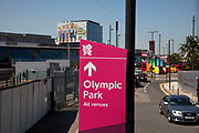 Area around Stratford in East London, home to the 2012 Olympic Games. Much signage has been installed to assist visitors to find their way to and from venues.