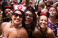 Rio de Janeiro, Brazil - March 10, 2019: Brazilians enjoy a final street party, the Monobloco, which will bring to an end Carnaval festivies in the city until the following year.