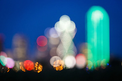 Abstract view of downtown and full moon, Dallas, Texas, USA