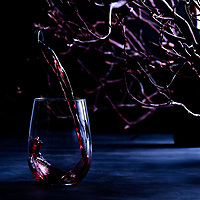 photograph of a wine pour in dark environment with branches in background