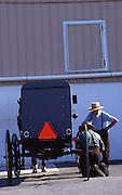Amish buggy, men, repair, Lancaster Co. PA