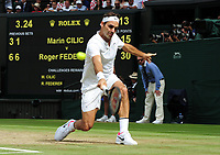 Tennis - 2017 Wimbledon Championships - Week Two, Sunday [Day Thirteen]<br /> <br /> Men Doubles Final match<br /> <br /> Marin Cilic (CRO) vs Rodger Federer (SUI)<br /> <br /> Rodger Federer on  Centre court <br /> <br /> COLORSPORT/ANDREW COWIE