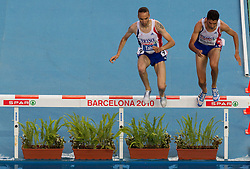 Bouabdellah Tahri and Mahiedine Mekhissi - Benabbad of France leading during the Mens 3000m Steeplechase Final during day six of the 20th European Athletics Championships at the Olympic Stadium on August 1, 2010 in Barcelona, Spain. (Photo by Vid Ponikvar / Sportida)