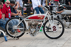 Rick Petko's Indian Power Plus Board Track style racer at the Sons of Speed Vintage Motorcycle Races at New Smyrina Speedway. New Smyrna Beach, USA. Saturday, March 9, 2019. Photography ©2019 Michael Lichter.