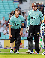 Cricket - 2017 Natwest T20 Blast - Quarter-Final: Surrey vs. Birmingham Bears<br /> <br /> Aaron Finch pulls his Calf muscle in the first over of the match as Jason Roy of Surrey looks on at The Oval.<br /> <br /> COLORSPORT/ANDREW COWIE