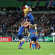 The French were contesting and winning almost everything including lineouts during the Rugby World Cup Pool D match between France and Romania at the Queen Elizabeth II Olympic Park, London, United Kingdom on 23 September 2015. Photo by Matthew Redman.