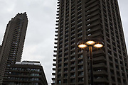 Cromwell Tower right, one of the three Barbican high-rises at the Barbican in the City of London, on 27th January 2019, in London, England.