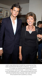 LADY JANE SPENCER-CHURCHILL and her son the HON.ALEXANDER SPENCER-CHURCHILL, at a party in London on 3rd October 2002.PDT 9