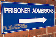 A sign for prisoner admissions. HMP/YOI Askham Grange is a women's open prison serving the Yorkshire area with a capacity of 128 women. It has extensive education, training and mother and Baby facilities.