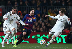 February 6, 2019 - Barcelona, Spain - Leo Messi, Luka Modric and Sergio Ramos during the match between FC Barcelona and Real Madrid corresponding to the first leg of the 1/2 final of the spanish cup, played at the Camp Nou Stadium, on 06th February 2019, in Barcelona, Spain. (Credit Image: © Joan Valls/NurPhoto via ZUMA Press)