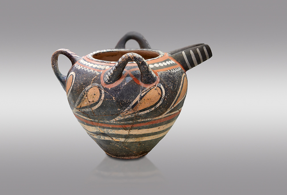 Minoan Kamares Ware  spouted  jug wit 3 handles and polychrome decorations, Phaistos 1800-1650 BC; Heraklion Archaeological  Museum, grey background.<br /> <br /> This style of pottery is named afetr Kamares cave where this style of pottery was first found .<br /> <br /> If you prefer to buy from our ALAMY PHOTO LIBRARY  Collection visit : https://www.alamy.com/portfolio/paul-williams-funkystock/minoan-art-artefacts.html . Type -   Heraklion   - into the LOWER SEARCH WITHIN GALLERY box. Refine search by adding background colour, place, museum etc<br /> <br /> Visit our MINOAN ART PHOTO COLLECTIONS for more photos to download  as wall art prints https://funkystock.photoshelter.com/gallery-collection/Ancient-Minoans-Art-Artefacts-Antiquities-Historic-Places-Pictures-Images-of/C0000ricT2SU_M9w