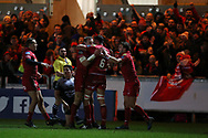 Hadleigh Parkes of the Scarlets (2nd left) celebrates with teammates after he scores his teams 2nd try. EPCR European Champions cup match, Scarlets v RC Toulon at the Parc y Scarlets in Llanelli, West Wales on Saturday 20th January 2018. <br /> pic by  Andrew Orchard, Andrew Orchard sports photography.