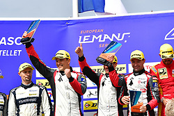 April 15, 2018 - Le Castellet, France - 33 TDS RACING (FRA) ORECA 07 GIBSON LMP2 MATTHIEUX VAXIVIERE (FRA) FRANCOIS PERRODO (FRA) LOIC DUVAL (FRA) SECOND PLACE LMP2 (Credit Image: © Panoramic via ZUMA Press)
