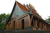 """Baandam Si Dum """"Black House"""" is the Chiang Rai estate of the renowned Thai artist Thawan Duchanee.  Baandam is a group of 40 houses where the artist, Thawan Duchanee, spent more than 30 years and devoted himself to design and create this domain.  Although the place is called """"Black House"""" in English, rather it is a collection of several houses in a large garden, some of which are not even black."""