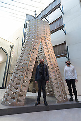 """© Licensed to London News Pictures. 15/09/2017. London, UK. Palestinian architects Elias and Yousef Anastas present their work called """"While We Wait"""" at the V&A museum in Kensington.  This work forms part of the London Design Festival, a programme of events and installations celebrating design taking place across the capital 16-24 September 2017.  Photo credit : Stephen Chung/LNP"""