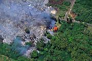 House burning, Kalapana, Kilauea Volcano, Island of Hawaii, Hawaii, USA<br />