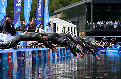 Swimmers dive in at the start of the Mixed Relay during day ten of the 2018 European Championships at Loch Lomond, Stirling. PRESS ASSOCIATION Photo. Picture date: Saturday August 11, 2018. See PA story OPEN European. Photo credit should read: Ian Rutherford/PA Wire. RESTRICTIONS: Editorial use only, no commercial use without prior permission