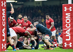 Leva Fifita of Tonga scores his sides first try<br /> <br /> Photographer Simon King/Replay Images<br /> <br /> Under Armour Series - Wales v Tonga - Saturday 17th November 2018 - Principality Stadium - Cardiff<br /> <br /> World Copyright © Replay Images . All rights reserved. info@replayimages.co.uk - http://replayimages.co.uk