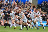 Stuart Olding of Ulster Rugby © breaks through to run in and score his try in the 2nd half.  Pro12 rugby match, Ospreys v Ulster Rugby at the Liberty Stadium in Swansea, South Wales on Saturday 7th May 2016.<br /> pic by  Andrew Orchard, Andrew Orchard sports photography.