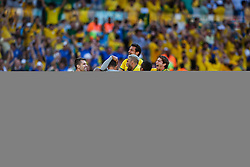 BELO HORIZONTE, BRAZIL - June 28, 2014: XXX of Brazil celebrates after scoring a goal during the 2014 World Cup Round of 16 game between Brazil and Chile at Mineirao Stadium. No Use in Brazil.