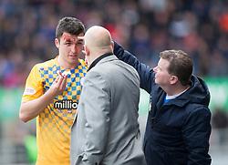 Morton's Michael Miller hurt. <br /> Falkirk 1 v 0 Morton, Scottish Championship game  played 1/5/2016 at The Falkirk Stadium.