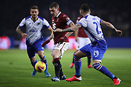 Karol Linetty and Nicola Murru of Sampdoria close in on Andrea Belotti of Torino FC during the Serie A match at Stadio Grande Torino, Turin. Picture date: 8th February 2020. Picture credit should read: Jonathan Moscrop/Sportimage